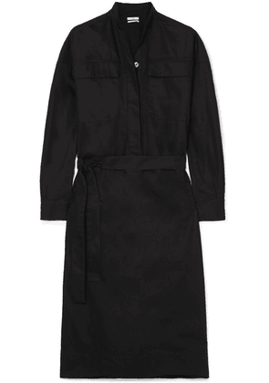 Co - Belted Twill Midi Dress - Black