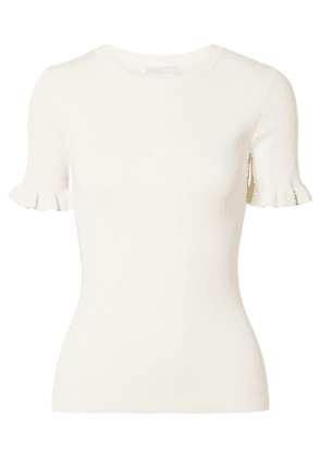 MICHAEL Michael Kors - Ruffled Ribbed Stretch-knit Sweater - Ivory