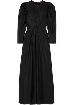 Sies Marjan - Virginia Pintucked Hammered-satin Maxi Dress - Black