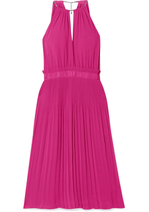 MICHAEL Michael Kors - Hayden Chain-embellished Pleated Georgette Dress - Plum