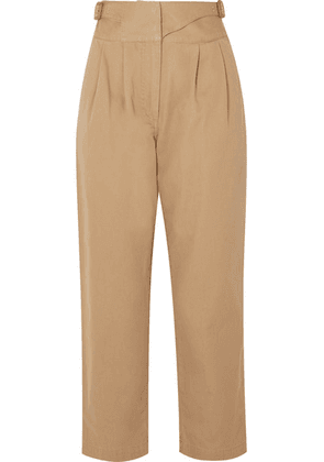 Loewe - Leather-trimmed Herringbone Cotton Straight-leg Pants - Beige