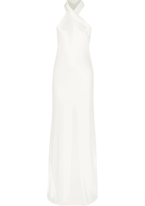 Galvan - Mayfair Halterneck Asymmetric Hammered-satin Gown - White
