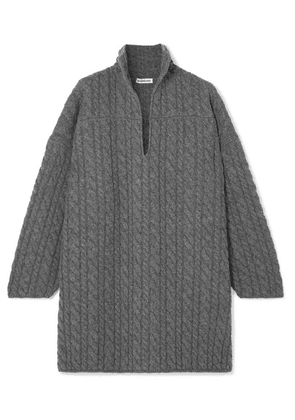 Balenciaga - Oversized Cable-knit Wool Sweater - Gray