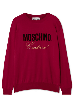 Moschino - Embroidered Intarsia Cotton Sweater - IT46