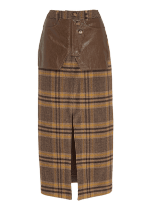 Rejina Pyo Maggie Leather-Trimmed Checked Wool Midi Skirt
