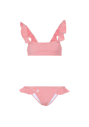Striped ruffle bikini