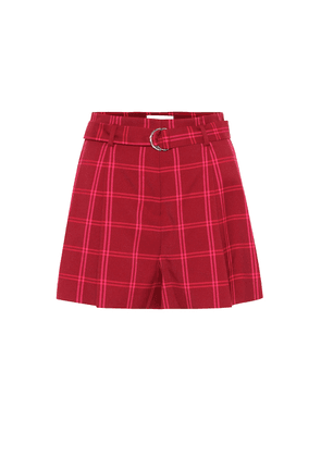 High-rise checked shorts