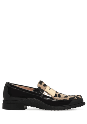20mm Patent Leather & Pony Skin Loafers