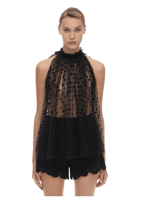 Sleeveless Embroidered Tulle Top