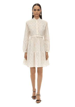 Gg Belted Cotton Blend Lace Dress