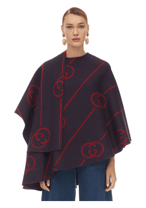 Gg Asymmetric Printed Wool Blend Cape