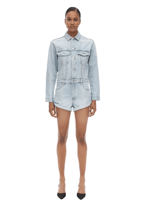 Cotton Denim Short Jumpsuit