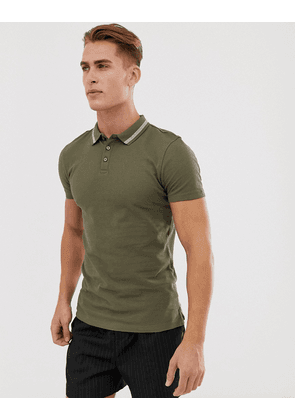 New Look muscle fit tipped polo in khaki