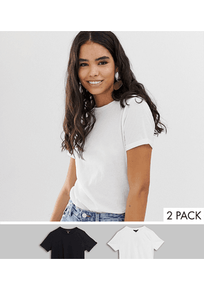 New Look 2 pack tee with roll sleeve in black and white