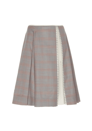 Alexandre Blanc Pleated Wool-Blend Skirt