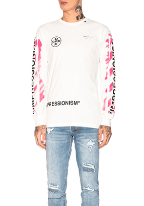 OFF-WHITE Diagonal Stencil Longsleeve Tee in Off White & Fuchsia - Pink,White. Size M (also in ).