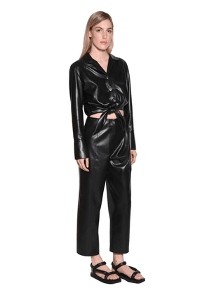 Ana Faux Leather Jumpsuit W/ Cut Out