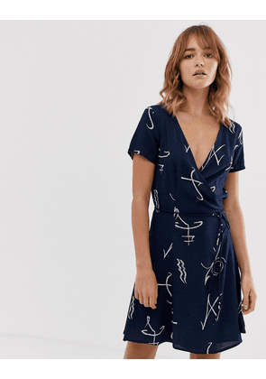 Weekday wrap front mini dress in navy print
