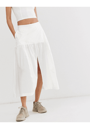 Weekday limited edition poplin skirt in white