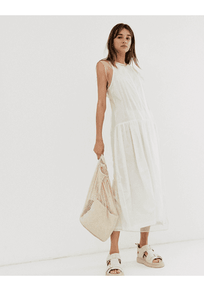 Weekday limited edition mesh midi dress in beige