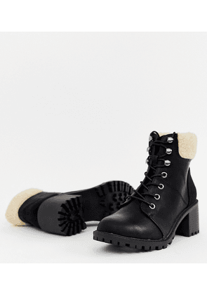 New Look shearling lace up heeled boot in black