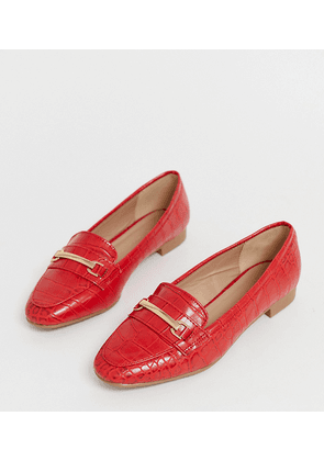 New Look wide fit croc effect loafer in bright red