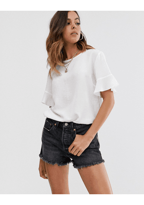 New Look frill edge tee in off white