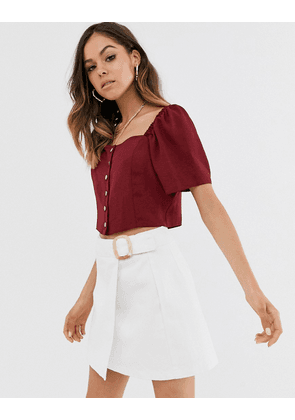 New Look square neck button down top in burgundy