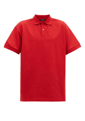 Balenciaga - Logo Embroidered Cotton Piqué Polo Shirt - Mens - Red