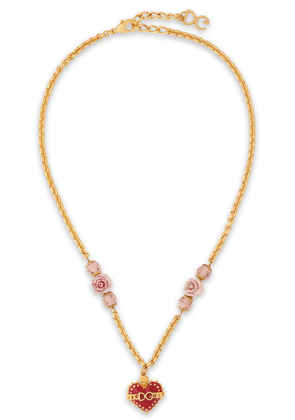 Dolce & Gabbana Sacred Heart Gold-tone, Crystal, Resin And Enamel Necklace Woman Gold Size --