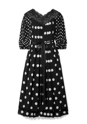 Marc Jacobs - Lace-trimmed Pleated Polka-dot Silk Crepe De Chine Midi Dress - Black
