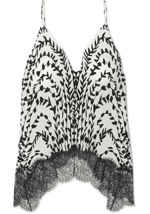 Givenchy - Printed Lace-trimmed Silk Crepe De Chine Camisole - White