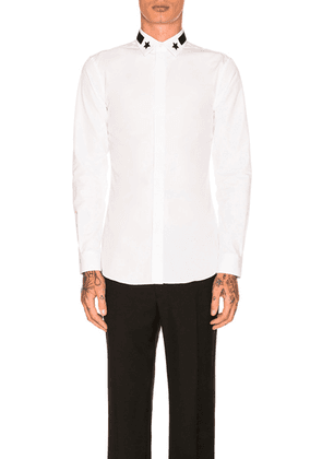 Givenchy Long Sleeve Embroidered Shirt in White - White. Size 41 (also in ).