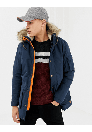 Jack & Jones Originals parka with borg lining and faux fur hood