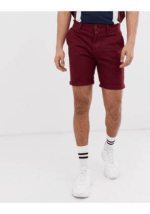 New Look slim fit chino shorts in burgundy