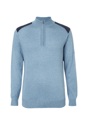 Dunhill Links - Two-tone Silk, Wool And Cashmere-blend Half-zip Sweater - Blue