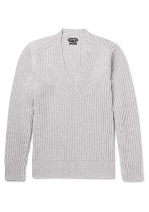 d35d1a437e23d TOM FORD | Suede-trimmed Wool Half-zip Sweater | Black | MILANSTYLE.COM