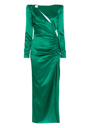 Alessandra Rich Slashed Embellished Silk Gown - Green