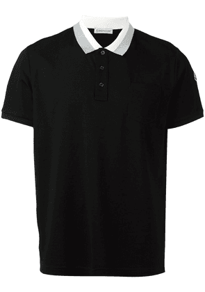 Moncler striped collar polo shirt - Black