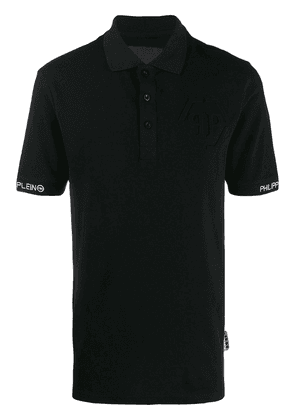 Philipp Plein embroidered detail polo shirt - Black
