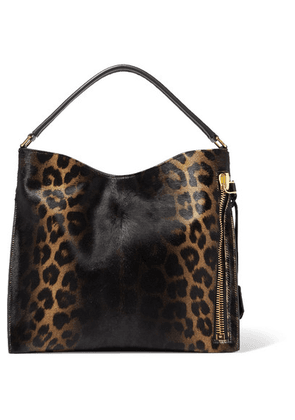 TOM FORD - Alix Small Leather-trimmed Leopard-print Calf Hair Tote - Black