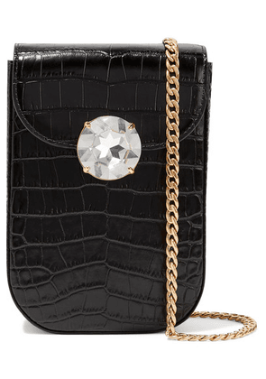 Miu Miu - Solitaire Crystal-embellished Croc-effect Leather Shoulder Bag - Black