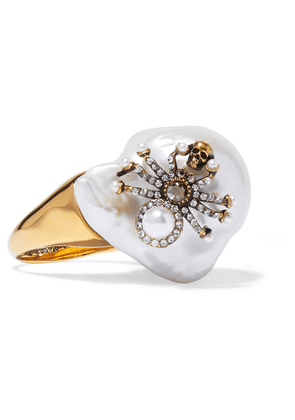 Alexander McQueen - Gold-tone, Crystal And Pearl Ring - White