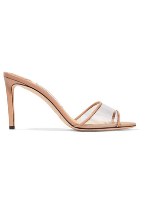 Jimmy Choo - Stacey 85 Leather And Pvc Mules - Neutral