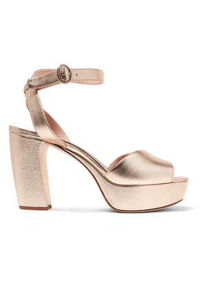 Miu Miu - Metallic Leather Platform Sandals - Gold