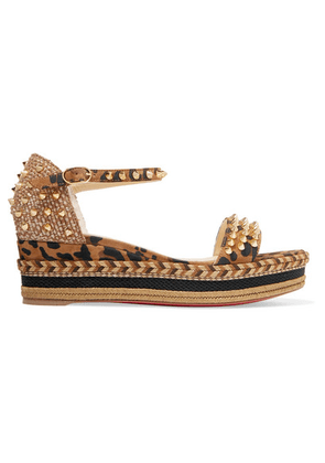 Christian Louboutin - Madmonica 60 Spiked Leopard-print Suede Espadrille Wedge Sandals - Leopard print