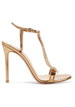 Gianvito Rossi - 105 Crystal-embellished Metallic Leather Sandals - Gold