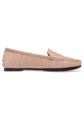 Tod's - City Gommino Croc-effect Leather Loafers - Beige