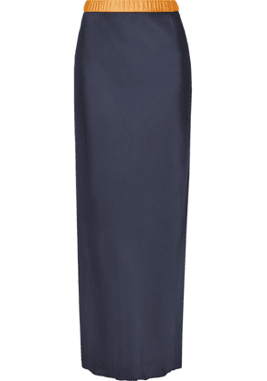 Helmut Lang - Tulle-trimmed Satin Maxi Skirt - Midnight blue