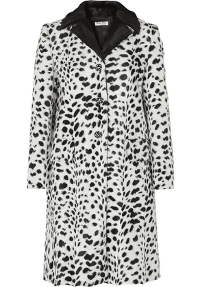Miu Miu - Crystal-embellished Animal-print Faux Fur Coat - Ivory